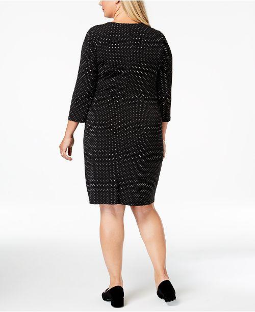 86e872cc5b5 ... Charter Club Plus Size Dot-Print Faux Wrap Dress