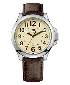 Tommy Hilfiger Watch, Brown Leather Strap 1710298