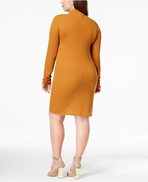 Planet Trendy Plus Neck Dress Gold Mock Spice Size Cathay qZUSw