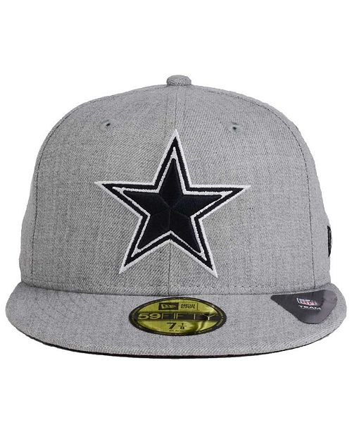 ... New Era Dallas Cowboys Heather Black White 59FIFTY FITTED Cap ... 8de97431a