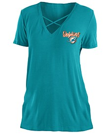 Women's Miami Dolphins Cross V T-Shirt