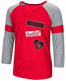 Colosseum Louisville Cardinals All You Need Three-Quarter Sleeve T-Shirt, Girls (4-16)