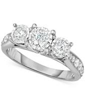 TruMiracle® Diamond Three-Stone Ring (1 ct. t.w.) in 14k White