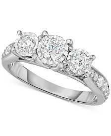 TruMiracle® Diamond Three-Stone Ring (1 ct. t.w.) in 14k White, Yellow or Rose Gold