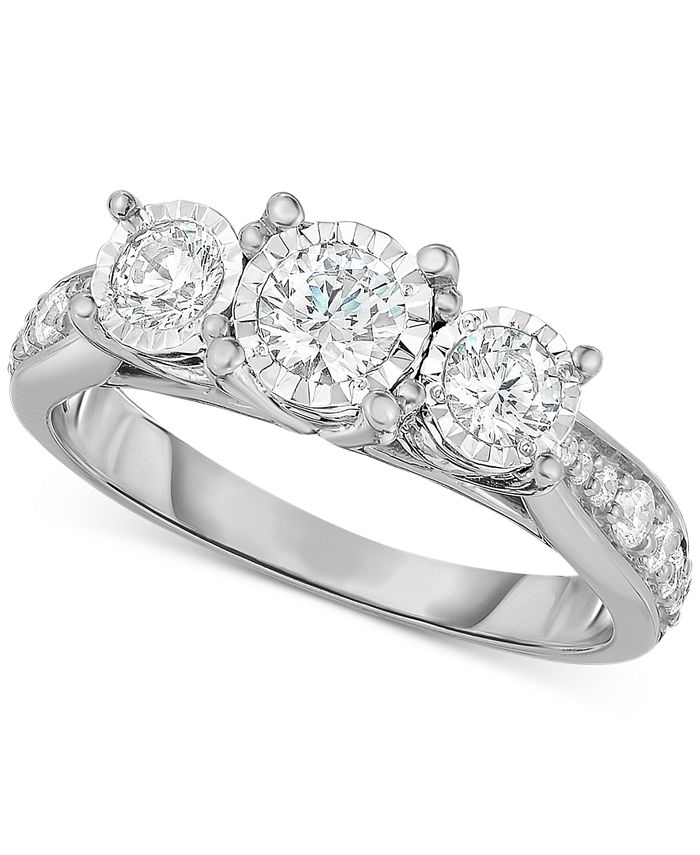 TruMiracle - Diamond Three-Stone Ring (1 ct. t.w.) in 14k White, Yellow or Rose Gold