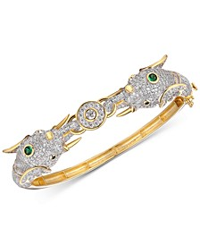 Cubic Zirconia Elephant Head Bangle Bracelet in 14k Gold-Plated Sterling Silver