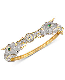 Tiara Cubic Zirconia Elephant Head Bangle Bracelet in 14k Gold-Plated Sterling Silver