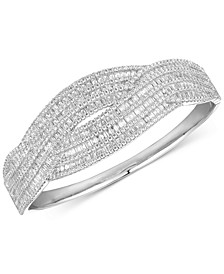 Cubic Zirconia Curved Crisscross Bangle Bracelet in Sterling Silver