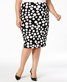 ECI Plus Size Polka-Dot Pencil Skirt