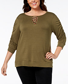 John Paul Richard Plus Size Keyhole Ruched Top