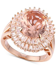 Cubic Zirconia Simulated Morganite Baguette Cluster Ring in 14k Rose Gold-Plated Sterling Silver