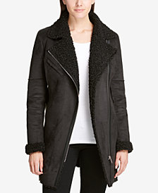 DKNY Belted Asymmetrical Mixed Media Coat