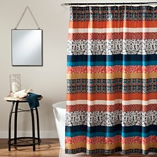 "Bohemian Stripe 72""x 72"" Shower Curtain Turquoise/Orange"