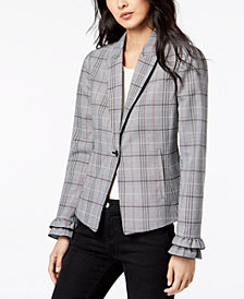 Maison Jules Menswear Plaid Fitted One-Button Jacket, Created for Macy's