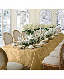 "Elrene Barcelona Damask Gold 60"" x 144"" Oblong Tablecloth"