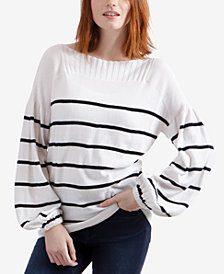 Lucky Brand Striped Bishop-Sleeve Sweater