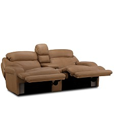 "Daventry 97"" 3-Pc. Leather Sectional Sofa With 2 Power Recliners, Power Headrests, Console And USB Power Outlet"