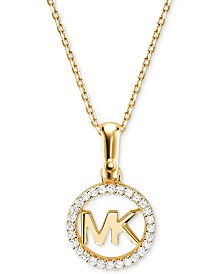 Michael Kors Women's Custom Kors Sterling Silver Logo Starter Necklace
