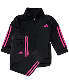 adidas Baby Girls 2-Pc. Three-Stripe Jacket & Jogger Pants Set