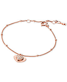 Michael Kors Women S Love Pavé Heart Sterling Silver Bracelet