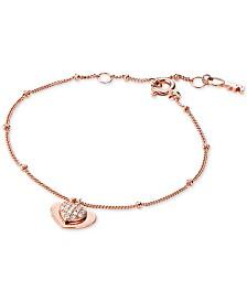 Michael Kors Women's Kors Love Pavé Heart Sterling Silver Bracelet