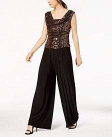 R & M Richards Petite Cowl-Neck Sequin-Embellished Jumpsuit