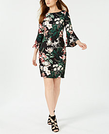 Calvin Klein Petite Floral Bell-Sleeve Sheath Dress