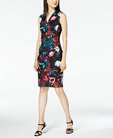 Calvin Klein Petite Floral-Printed Sheath Dress