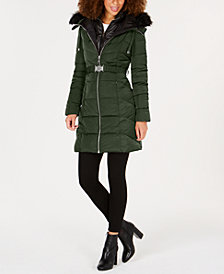 GUESS Faux-Fur-Trim Hooded Belted Puffer Coat