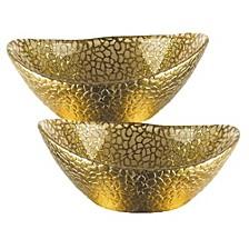 Snakeskin Gold Oval 6 Inch Bowl - Set of 2