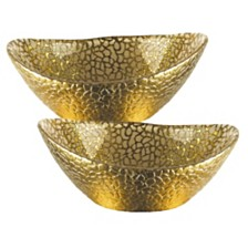 Snakeskin Gold Oval 6 Inch Bowl - Set of 2