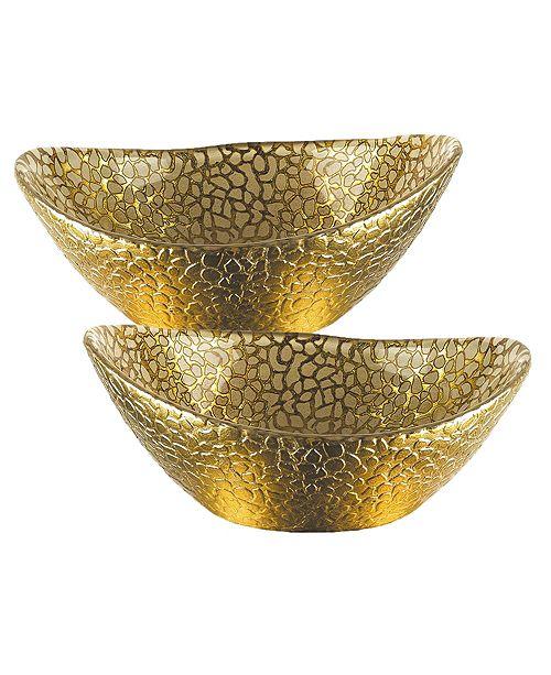 Badash Crystal Snakeskin Gold Oval 6 Inch Bowl - Set of 2