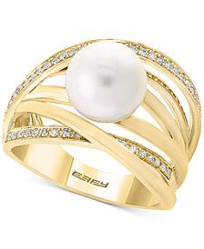 Pearl by EFFY® Cultured Freshwater Pearl (9mm) & Diamond (1/6 ct. t.w.) Ring