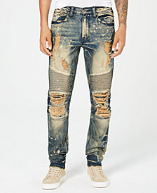 Heritage America Men's Slim-Straight Fit Stretch Destroyed Moto Jeans