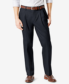 NEW Dockers Men's Signature Lux Cotton Relaxed Fit Pleated Stretch Khaki Pants