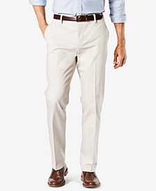Men's Big & Tall Signature Lux Cotton Classic Fit Creased Stretch Khaki Pants