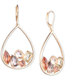Anne Klein Gold-Tone Stone Cluster Oval Drop Earrings