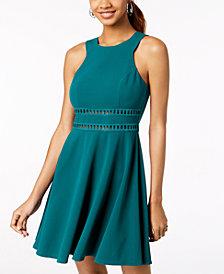 Trixxi Juniors' Laddered-Inset Scuba Dress