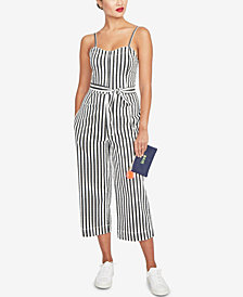 RACHEL Rachel Roy Sleeveless Striped Cropped Jumpsuit, Created for Macy's