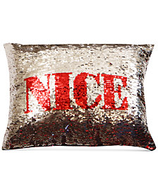 hallmart collectibles naughty or nice sequin 18 square decorative pillow - Christmas Decorative Pillows