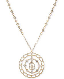 "Ivanka Trump Gold-Tone Crystal Orbital Pendant Necklace, 36"" + 2"" extender"
