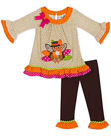 Rare Editions Little Girls 2-Pc. Turkey Tunic & Leggings Set