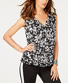 Thalia Sodi Printed Sleeveless Surplice Top, Created for Macy's