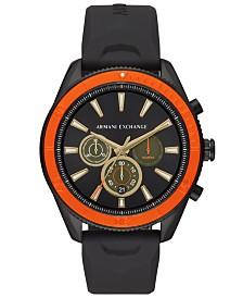A|X Armani Exchange Men's Chronograph Enzo Black Silicone Strap Watch 44mm