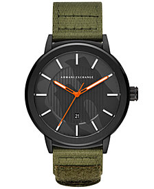 A|X Armani Exchange Men's Maddox Olive Canvas Strap Watch 46mm