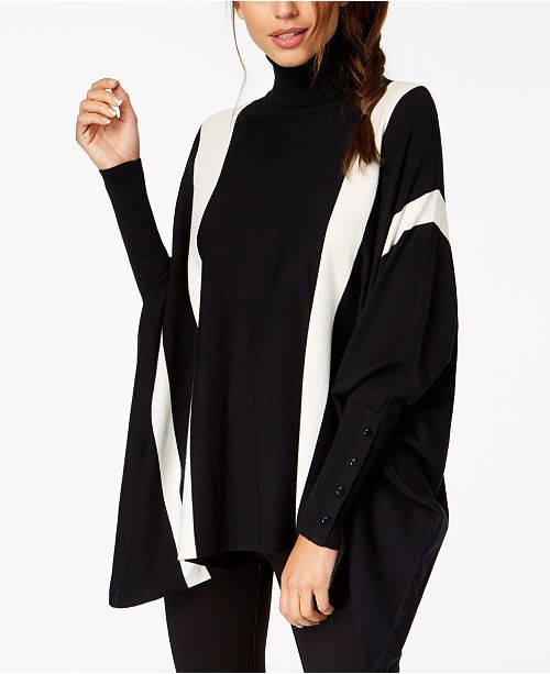 Alfani Turtleneck, Vertical Stripe and Horizontal Stripe Ponchos, Created for Macy's