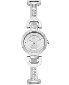 DKNY Women's City Link Stainless Steel Pavé Crystal Half-Bangle Bracelet Watch 24mm, Created for Macy's