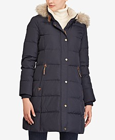 Faux-Fur-Trim Quilted Down Coat, Created for Macy's