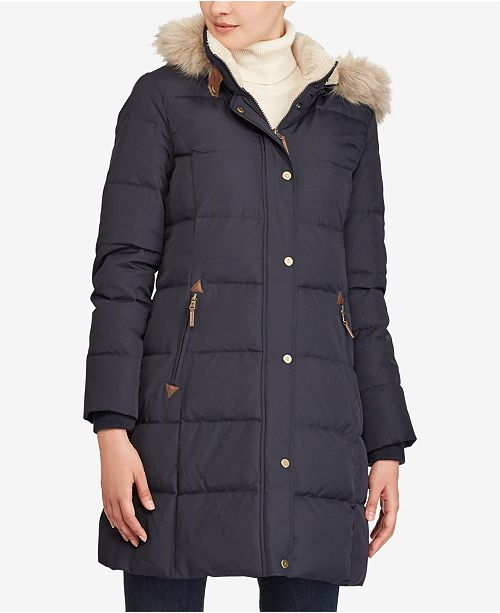 0149b4aef36 Lauren Ralph Lauren Faux-Fur Down Coat & Reviews - Coats ...