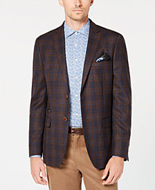 Tallia Men's Big & Tall Slim-Fit Brown/Navy Plaid Sport Coat